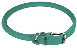 "Dogline 1/3 by 13-16"" Round Leather Collar, Small, Teal"