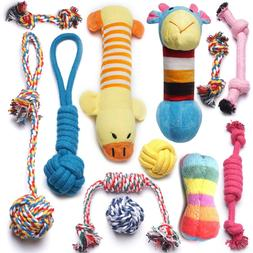 12 Pack Dog Rope Toys Squeaky Plush Toys,Dog Chew Toys for P