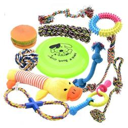 Dog Toys Set with Ropes Chew Flying Squeak Frisbee Ball and
