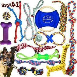 Jalousie 14 Pack Puppy Chew Dog Rope Toy Assortment for Smal