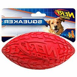 "Nerf Dog 1570 6"" Tire Squeak Football, Dog Toy, Large, Red"