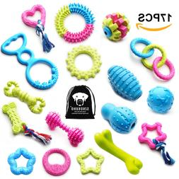 17 Pack Durable Puppy Dog Chew Toys Set Dog Teething Ball To