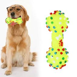 1pcs Pet Chew Toy Soft Rubber Bone Squeaky Toys Colorful Dot