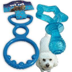 2 Pack - Rubber Dog / Puppy Chew Toys. Spike & Pull Tug of W