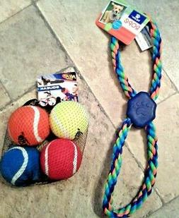 2 Dog Toys for Med - Lg. Puppy Dog, Top Paw Tug Rope, Nerf D