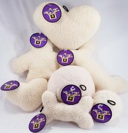 MultiPet 2-Squeaker Fleece Dog Toy Toys Man Ball in B53 Bone
