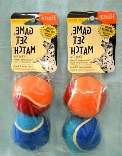 2X Lot = 4 Balls Total HARTZ Dog TOY Rubber Tennis BALLS Pla