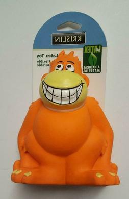 3 orange monkey dog toys