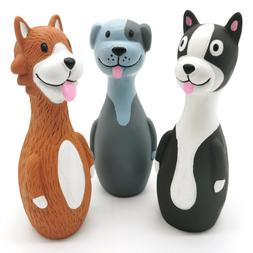 """Chiwava 3 Pack 5.7"""" Squeaky Latex Dog Toys Standing Stick Do"""
