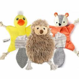3 Pack Stuffingless Dog Squeaky Toys, Plush Animal Dog Toys