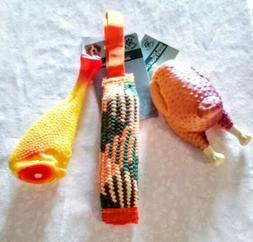3 Squeaky Dog Toys Rubber Chicken Hollow Tug Chew Toy Food S