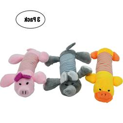 3PCS Pet Puppy Chew Squeaker Squeaky Plush Sound Pig Elephan