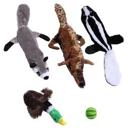 5 Plush No Stuffing Dog Toys With Squeakers-Ideal Puppy Toys