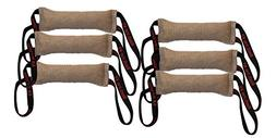 "Bundle of 6 Dog Bite Tug Toy 3"" X 16"" 2 Handle Jute - Redlin"