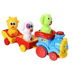 Arshiner Toddler Puppy's Music Light Cartoon Animal Train To