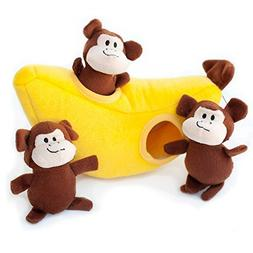 By-Zippypaws Tough Dog Toys, Monkey and Banana Squeaky Cute