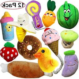 Jalousie 12 Pack Dog Squeaky Toys Cute Plush Toys for Small