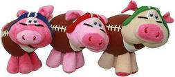 """Multipet Pig Skins Plush Football Dog Toy 8"""" Colors Vary"""