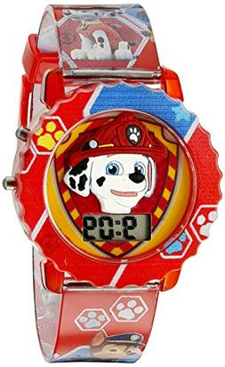 Paw Patrol Kids' Digital Watch with Red Case, Comfortable Re
