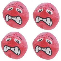 Stock Show 4Pcs Dog Plush Ball with Expression Face Spueaky