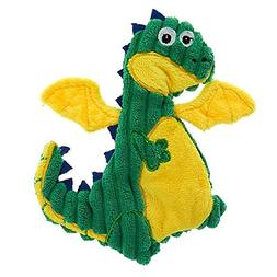 TOP PAW Green & Yellow Dragon Crinkle, Squeaker Flattie Dog