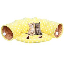 Towerin Cat Tunnel Toy and Bed with Scratching Ball Collapsi