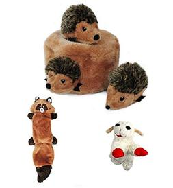 ZippyPaws Hedgehog Den with Zingy Raccoon Squeaker Toy and L