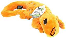 goDog Amphibianz Tough Plush Dog Toys with Chew Guard Techno