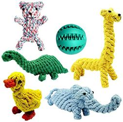 Achivy 6 Piece Animal Design Cotton Rope Dog Toys with Puppy