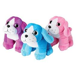 Lot Of 12 Assorted Color Glitter Plush Stuffed Animal Puppy
