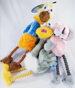 Multipet Bird Brains Squeaker Rope dog toy Ostrich Swan Flam