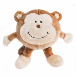 ZippyPaws Brainey Squeaky Plush Dog Toy, Monkey