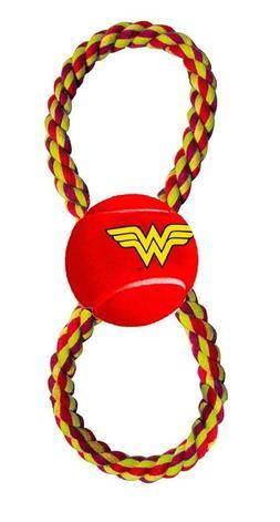 Buckle Down WONDER WOMAN Dog Toy Rope Tennis Ball Pull Tug 1