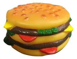 Cheeseburger Hamburger Dog Pet Toy Rubber Vinyl Squeaky Sque