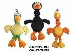 Chirpies Singing Bird Dog Toys Plush Bungee Neck Tugs Assort