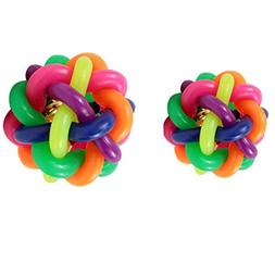 B Blesiya 2x Colorful Woven Pet Nobbly Wobbly Toy Rubber Flo