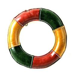 QINF All Cow Leather Colorful Frisbee Style Squeaking Toys