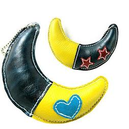 QINF All Cow Leather Double Color Moon Style Squeaking Toys