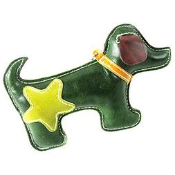 QINF All Cow Leather Double Color Puppy Dog Style Squeaking