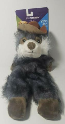 Vibrant Life Cozy Buddy Stuffing-Free Dog Toy Raccoon Cowboy
