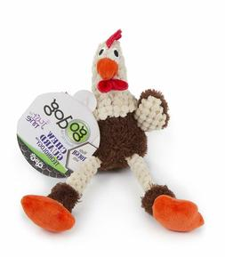 GoDog Skinny Brown Rooster Dog Toys, Choose from: Mini, Smal