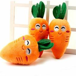 Cute Puppy Pet Supplies Carrot Plush Chew Squeaker Sound Squ