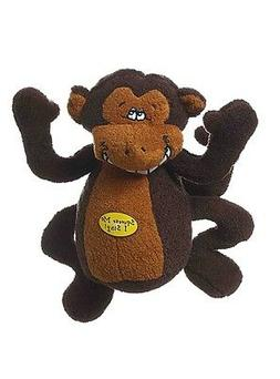 Multipet Deedle Dude 8-Inch Singing Monkey Plush Dog Toy, Br