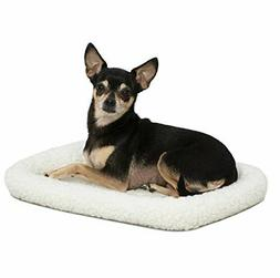 18L-Inch White Fleece Dog Bed or Cat Bed w/ Comfortable Bols