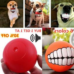 Dog Cat Toy Play Funny Pet Silicon Ball Teeth Chew Squeaker