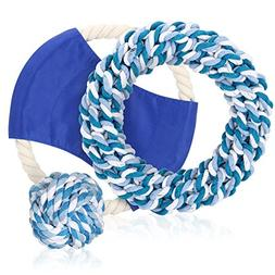 Openuye 3 Pack Dog Rope Chew Toy, Nuts for Knots Ball, Flyer