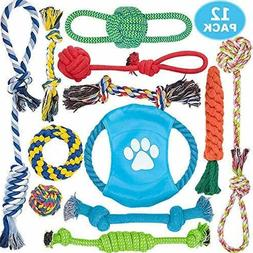 Dog Rope Toys, 12 Pack Dog Rope Toys for Aggressive Chewers,