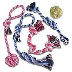 TOYSBOOM 5 piece Dog Rope Toys Puppy Flossy Chew Rope Tug To