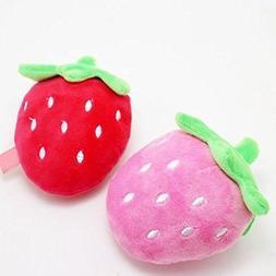 Stock Show 2Pcs Dog Squeak Toys Pet Plush Strawberry Shape C