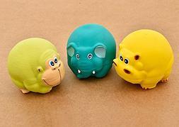 "CatYou 3PCS Latex Dog Squeak Toys, Chew Molar Dog Toy, 3"" Di"
